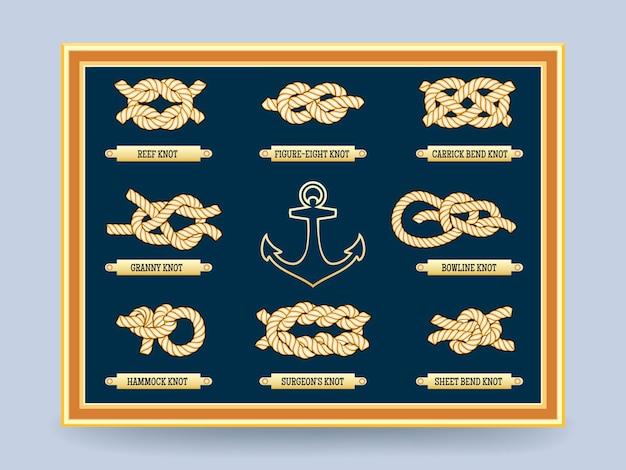フレーム内のボード上の航海ロープの結び目。もやい結びと8の字。