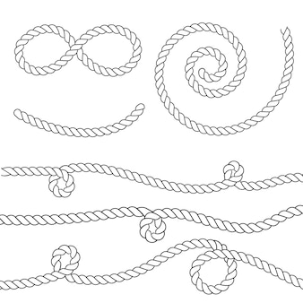 Nautical rope knots. vintage decorative elements.