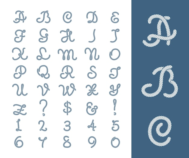 로프와 해상 로프 문자 스레드 글꼴입니다. 숫자 코드 그림.