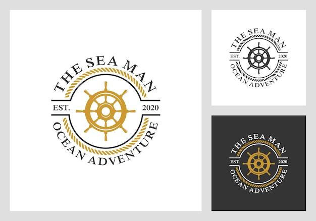 航海、帆、ホイールのロゴデザイン