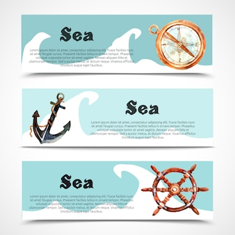 Nautical and sea horizontal banner set