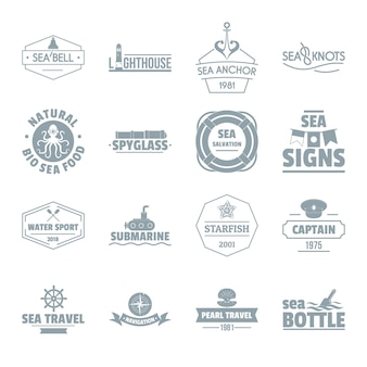 Nautical sea logo icons set