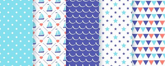 航海のシームレスなパターン。幾何学的な夏セット