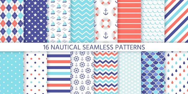 Nautical seamless pattern.   illustration. marine sea backgrounds.