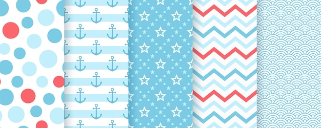 Nautical seamless pattern. marine patterns with anchor, stripes, star, waves.