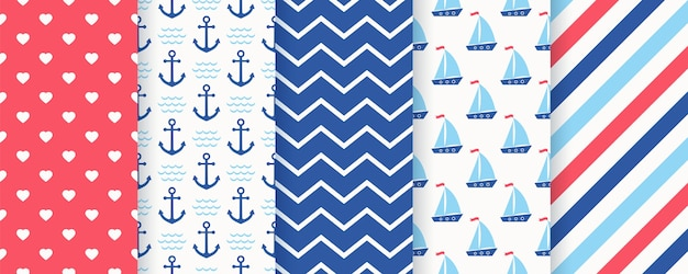 Nautical seamless pattern. marine sea background with anchor, sailboat, zigzag, stripe, heart