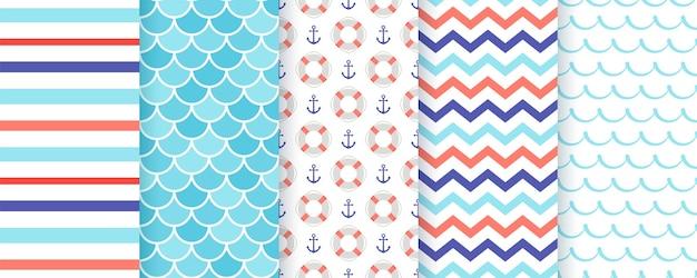 Nautical seamless pattern.  . marine sea geometric texture