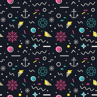 Nautical seamless pattern in memphis style.
