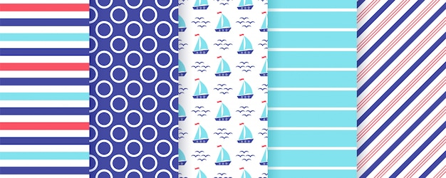 Nautical seamless pattern set.