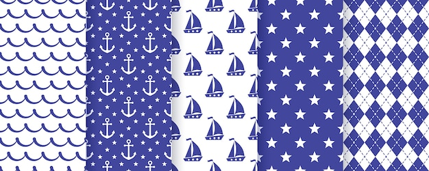 Nautical seamless pattern. vector. sea backgrounds. set marine summer textures