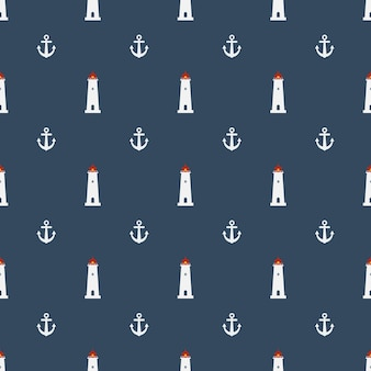 Nautical seamless pattern with lighthouse icon on navy blue background
