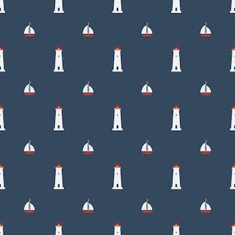 해군 파란색 배경에 등 대 아이콘으로 항해 원활한 패턴