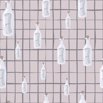 임의의 흰색 병 메시지 인쇄가 있는 해상 원활한 패턴입니다. 체크가 있는 파스텔 라일락 배경.