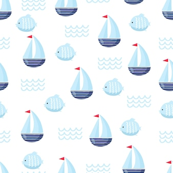 Nautical seamless vector pattern with ship. bright cartoon illustration for children's greeting card design, fabric and wallpaper.