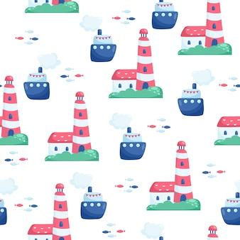 Морские бесшовные векторные шаблон с кораблем. яркие мультяшные иллюстрации для дизайна детских открыток, ткани и обоев.