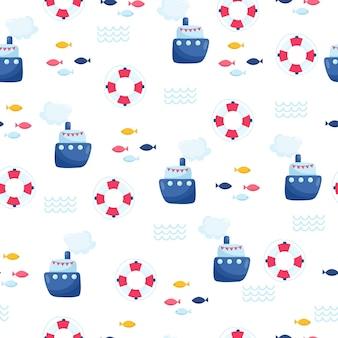배와 항해 원활한 벡터 패턴입니다. 어린이 연하장 디자인, 직물 및 벽지를 위한 밝은 만화 삽화.