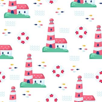 선글라스와 선박 항해 원활한 벡터 패턴입니다. 어린이 연하장 디자인, 직물 및 벽지를 위한 밝은 만화 삽화.