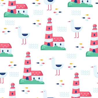 Nautical seamless vector pattern with sunglasses and starfish on striped background. bright cartoon illustration for children's greeting card design, fabric and wallpaper.
