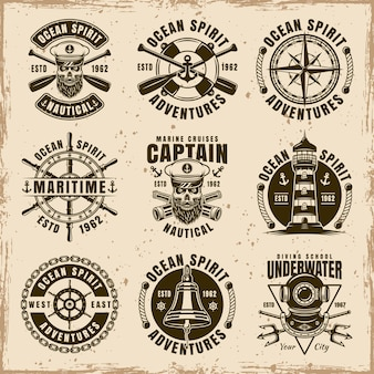 Nautical set of nine vector emblems, labels, badges or t shirt prints in vintage style on dirty background with stains and grunge textures