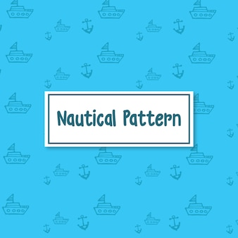 Nautical ship and anchor vector pattern background in blue