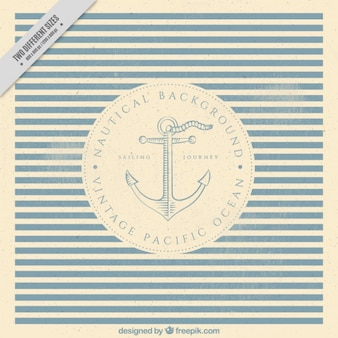 Nautical striped background with anchor in vintage style