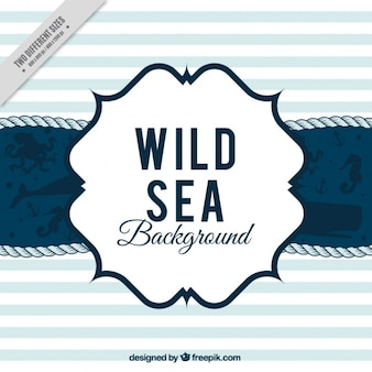Nautical striped background with several marine animals