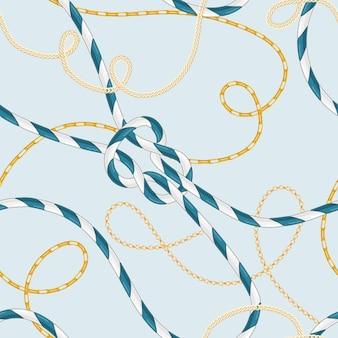 マリンロープノットとトレンディなゴールデンチェーンを備えた航海スタイルのシームレスパターン。壁紙、ラッピングのための海の要素を持つファッションファブリックデザイン。ベクトルイラスト