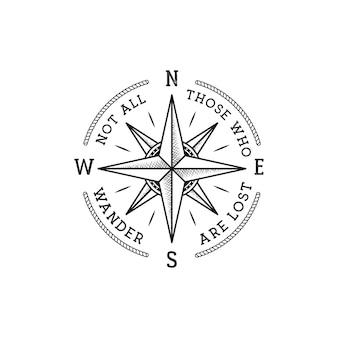 Tシャツ、ロゴ、バッジの航海スタイルのヴィンテージワンダーラストプリントデザイン。彷徨うすべての人が風配図のエンブレム、海のスタイルのティーでタイポグラフィを失っているわけではありません。分離された株式ベクトルイラスト。