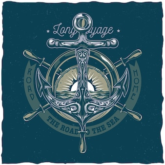 Nautical t-shirt label design with illustration of anchor.