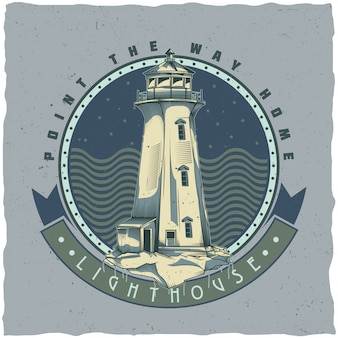 오래 된 등 대의 일러스트와 함께 해상 티셔츠 라벨 디자인. 손으로 그린 그림.