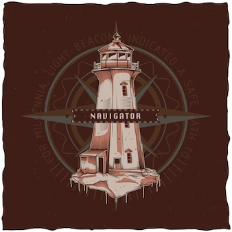 Nautical t-shirt label design with illustration of old lighthouse. hand drawn illustration.