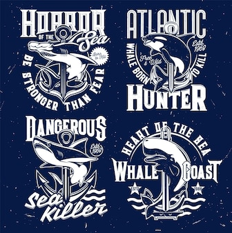 Nautical t-shirt prints, anchor and marine sea waves vector emblems. shark and killer whale ocean fish blue signs with slogans and quotes, atlantic fishers and hunters club grunge badges