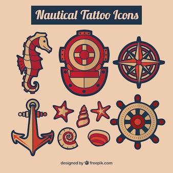 Nautical tattoos set
