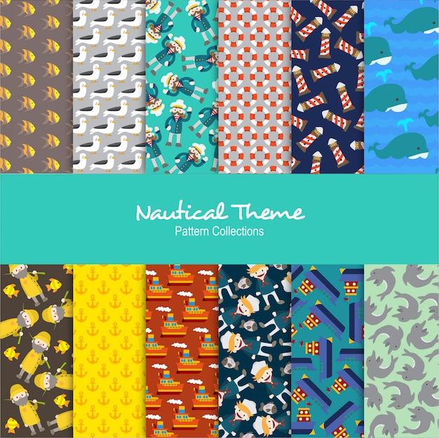 Nautical theme patterns set