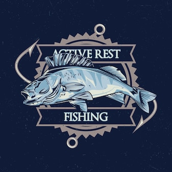 Nautical theme t-shirt design with illustration of fish