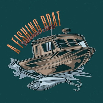 Nautical theme t-shirt design with illustration of fishing boat
