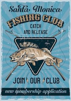 Design poster vintage tema nautico con illustrazione di pesce