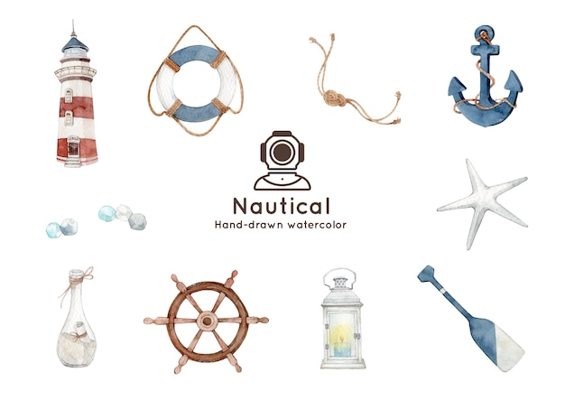 Nautical theme watercolor illustration