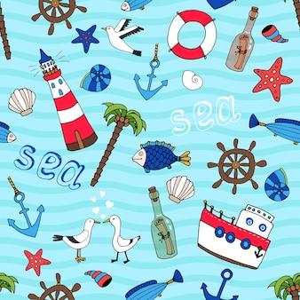 Морской тематический вектор бесшовные модели в стиле ретро с маяком, якорь, рыбные корабли, колесо, пальмовое дерево, морская звезда, лодка, чайки, спасательное кольцо, сообщение в бутылке и ракушки на бирюзовом море