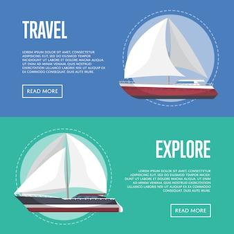 Nautical travel banner set with sailboats