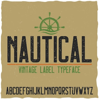 Nautical typeface and sample