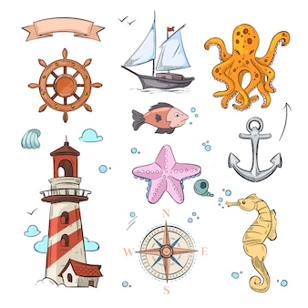 Nautical vector doodle design set