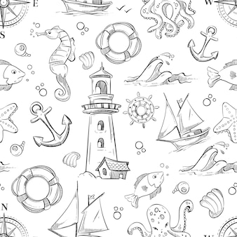 Nautical vector doodle seamless pattern