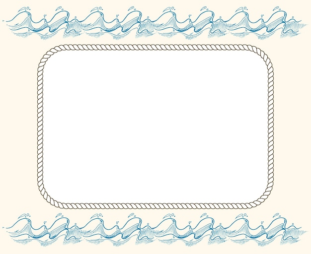 Nautical vector frame with ropes and blue waves