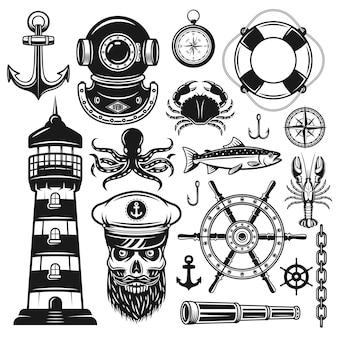Морские векторные объекты в винтажном черном стиле, изолированные на белом