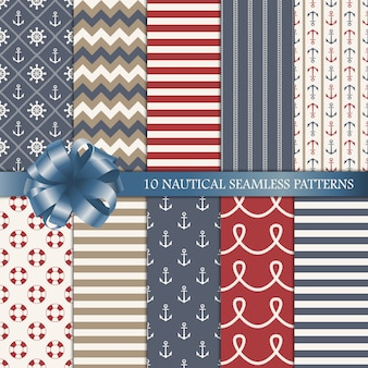 Nautical vector seamless patterns set