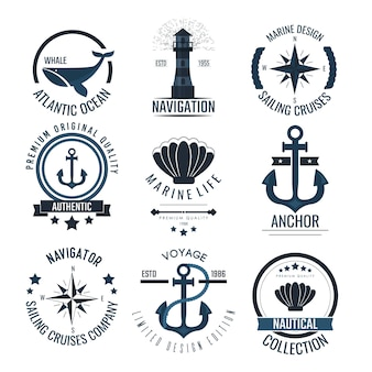 Nautical vintage labels and icons.