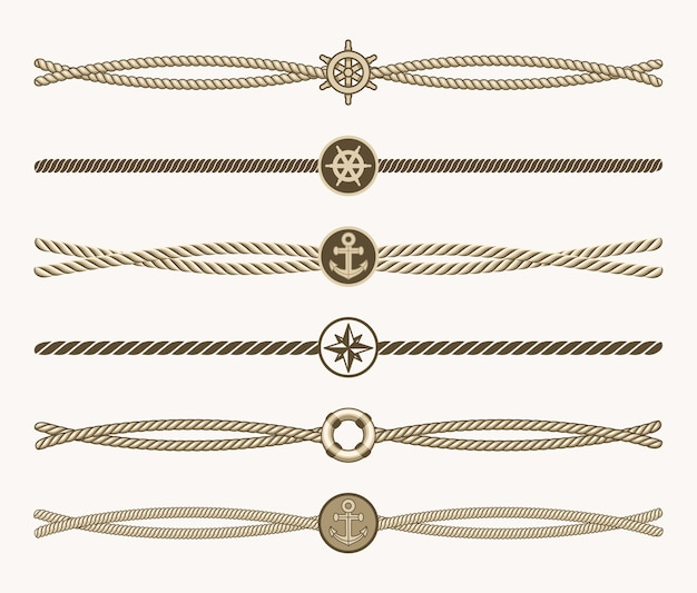 Nautical vintage rope vector dividers