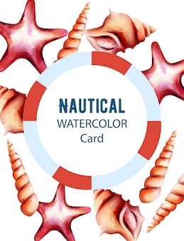 Nautical watercolor card with starfish and various size shell