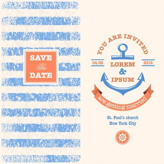 Nautical wedding invitation with designed nautical elements. sailor theme